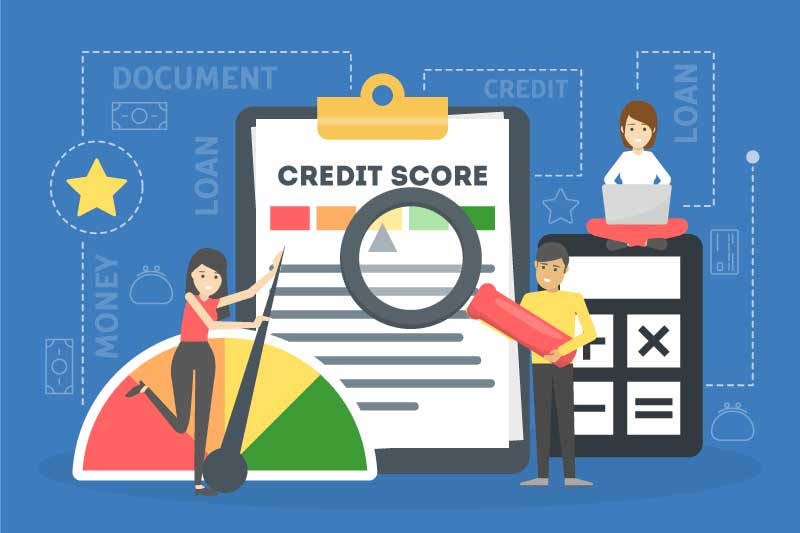 Credit Score Graphic with calculator