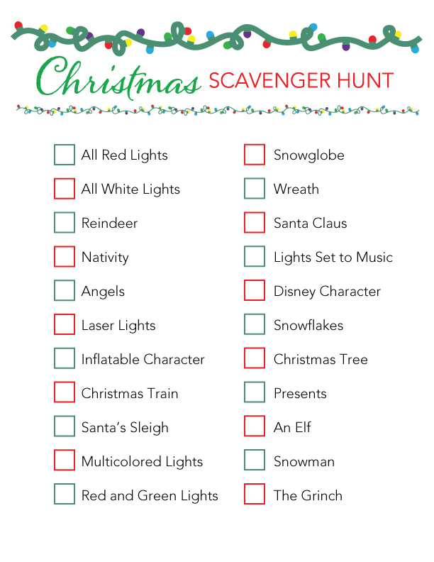 scavenger hunt checklist to be printed out