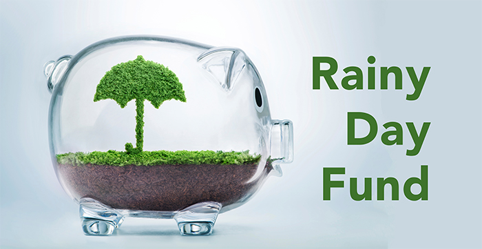 piggy bank with a rainy day or emergency fund