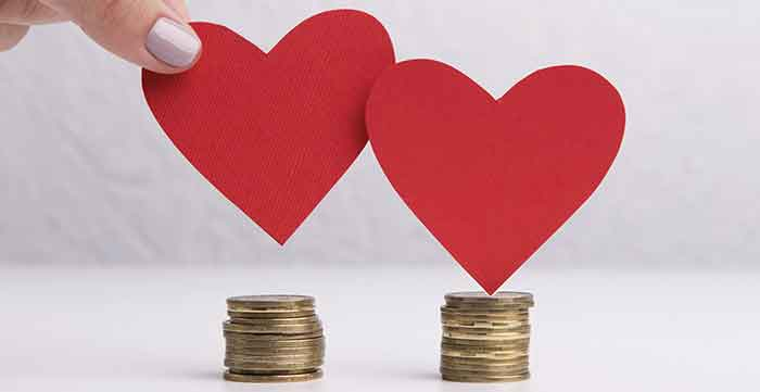 valentine hearts over a stack of money