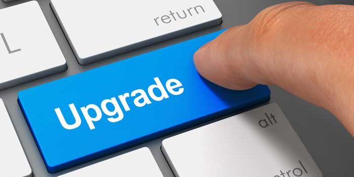clicking on the upgrade button on a keyboard